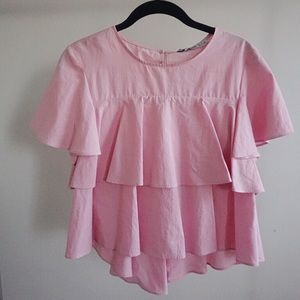 Zara Basic Pink Tiered Top